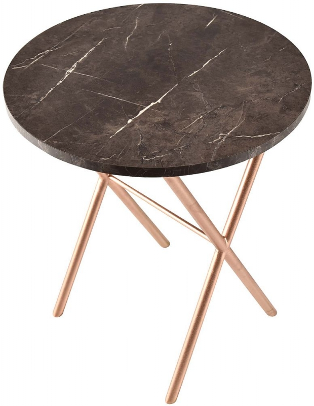 Alston Marble Effect Round Side Table