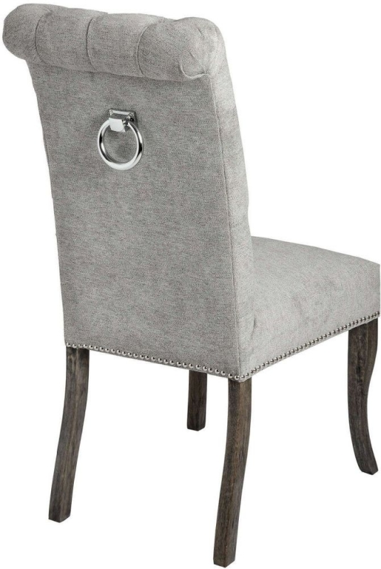 Hill Interiors Silver Roll Dining Chair with Ring Pull (Pair)