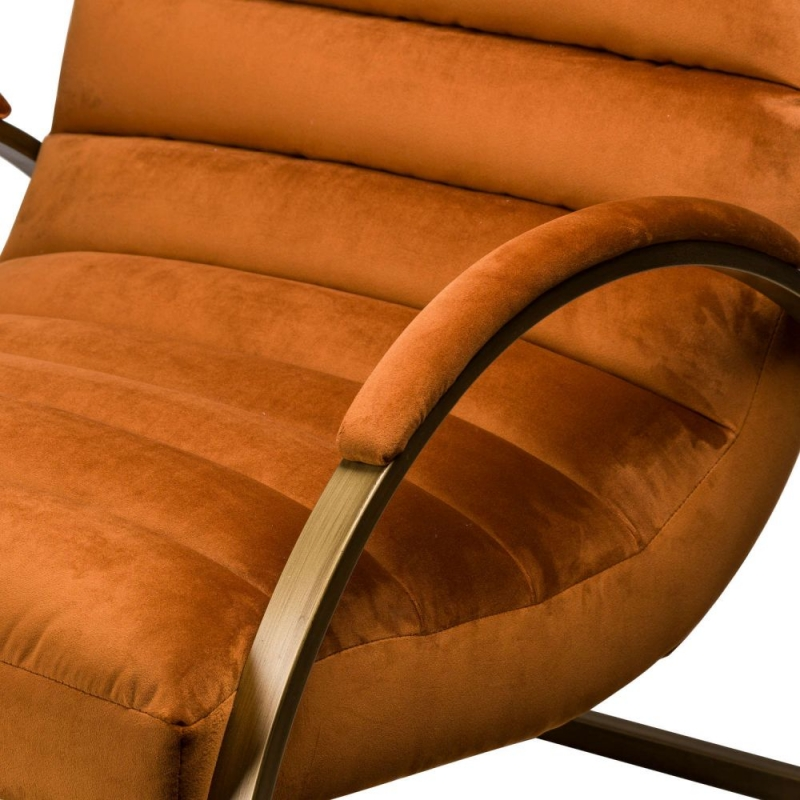 Hill Interiors Orange and Brass Ribbed Ark Chair