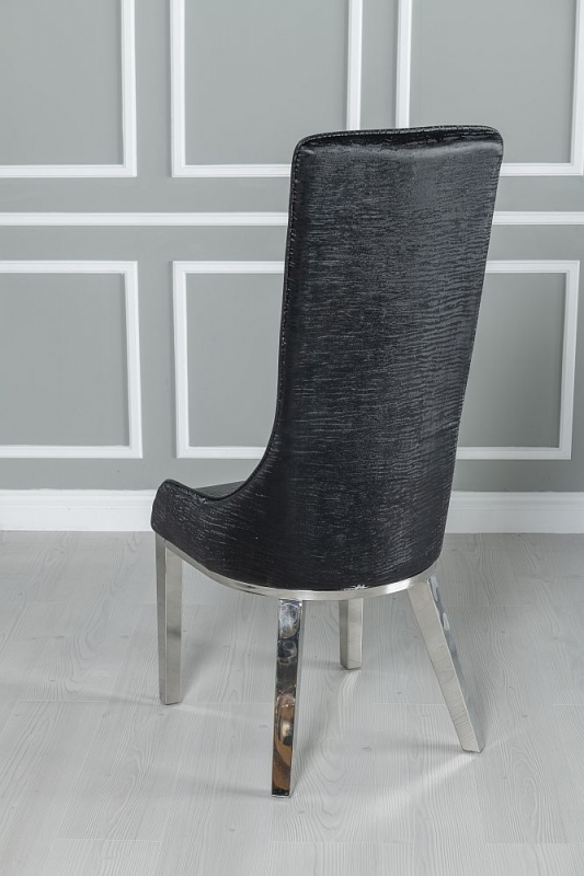 Urban Deco Vortex 220cm Grey Marble and Chrome Dining Table with 6 Allure Black Chairs