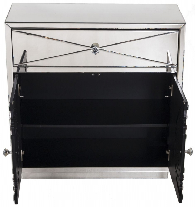 Eloy Mirrored 2 Door 1 Drawer Small Sideboard