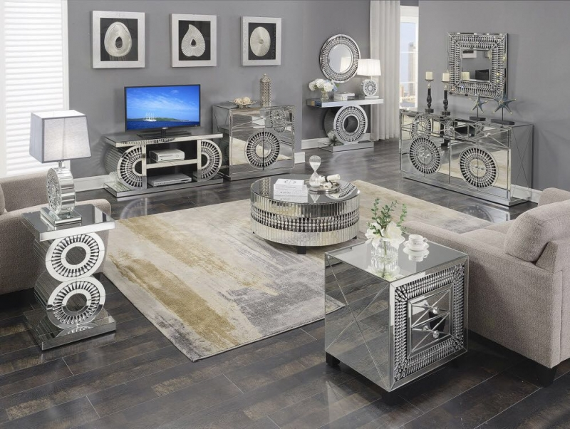 Eloy Mirrored Round Coffee Table