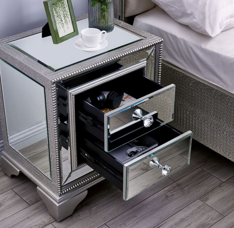 Preston Mirrored Bedside Cabinet