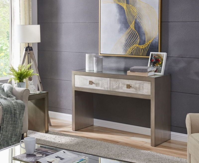 Waco Glass Top Console Table with Mirror