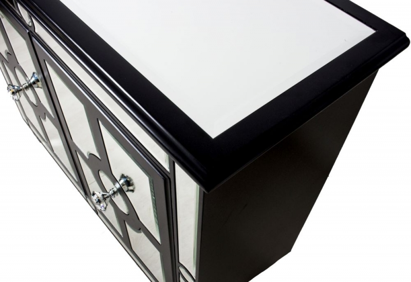 Omaha Black Mirrored 2 Door Small Sideboard