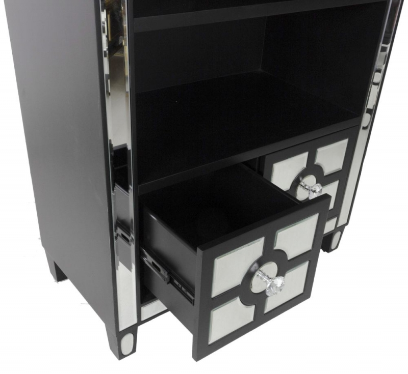 Omaha Black Mirrored Bookcase