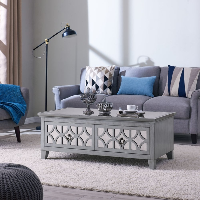 Raleigh Grey Mirrored Coffee Table