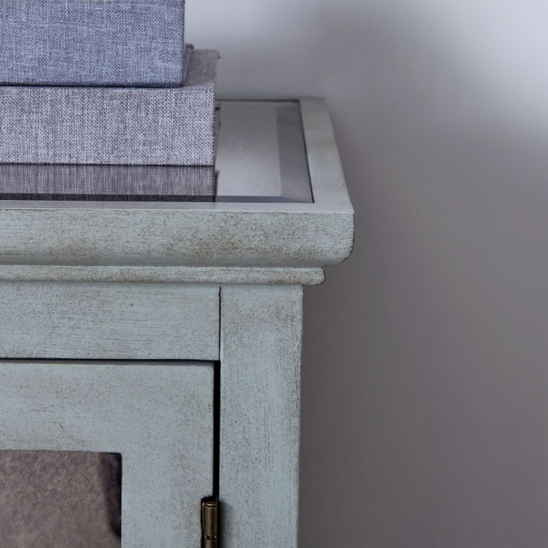 Raleigh Grey Mirrored 2 Door Small Sideboard with Mirror