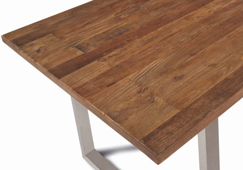 Dothan Rustic Walnut and Chrome Dining Table