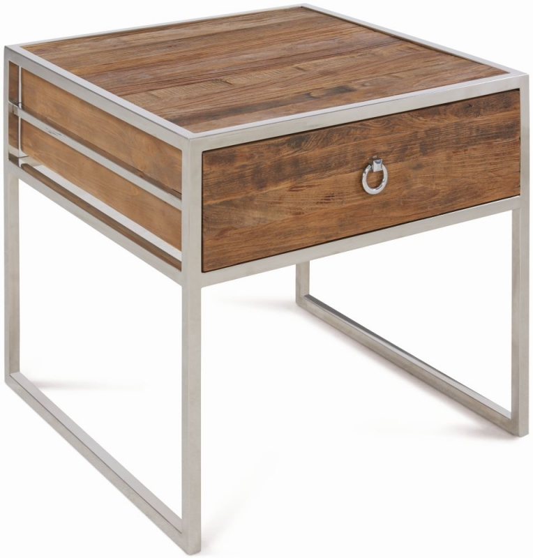 Dothan Rustic Walnut and Chrome Side Table