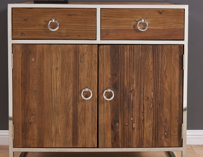 Dothan Rustic Walnut and Chrome 2 Door 2 Drawer Chest