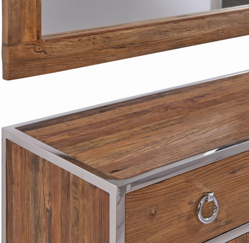 Dothan Rustic Walnut and Chrome 2 Door 2 Drawer Chest with Mirror
