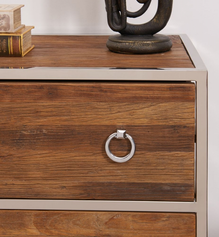 Dothan Rustic Walnut and Chrome 3 Drawer Chest