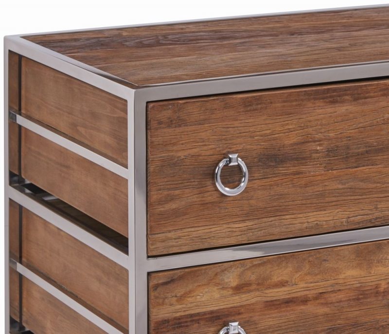 Dothan Rustic Walnut and Chrome 3 Drawer Chest with Mirror