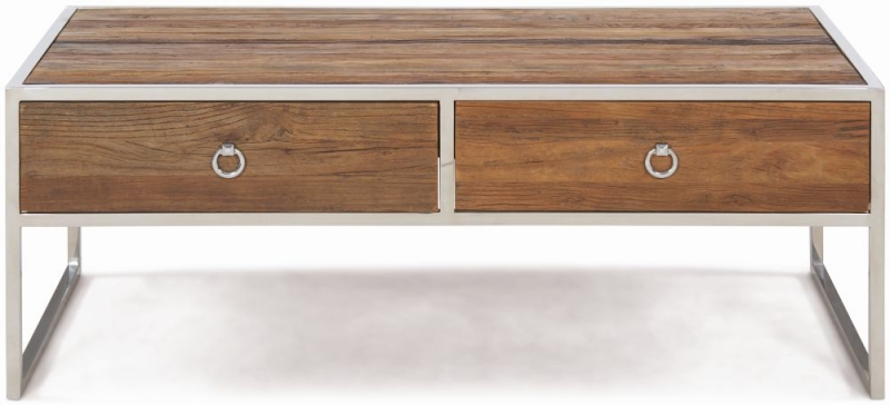 Dothan Rustic Walnut and Chrome Coffee Table