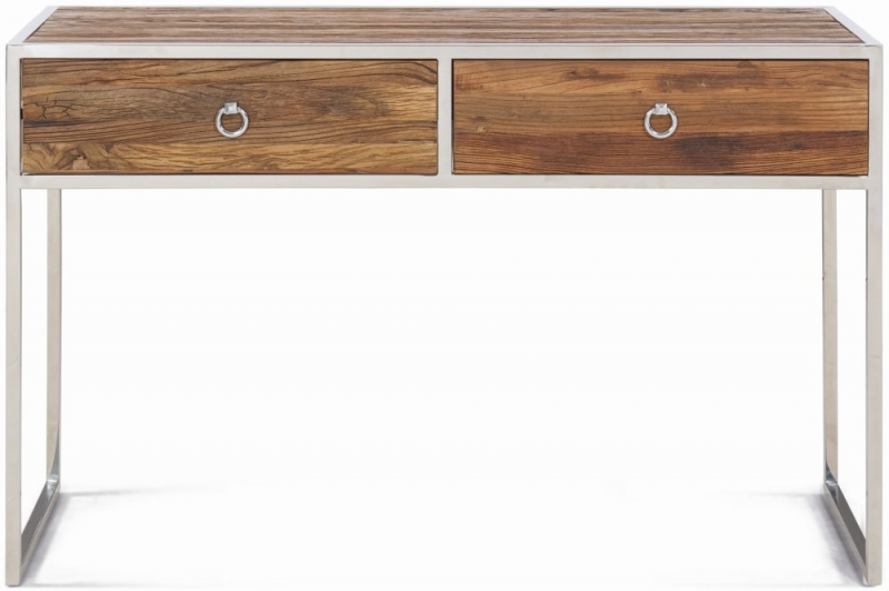 Dothan Rustic Walnut and Chrome Console Table