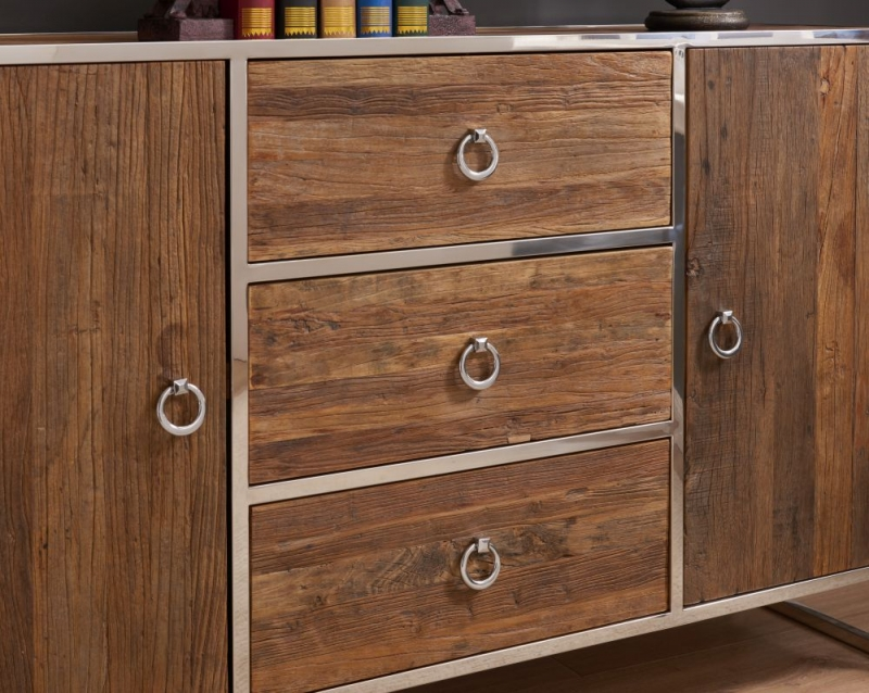 Dothan Rustic Walnut and Chrome Sideboard