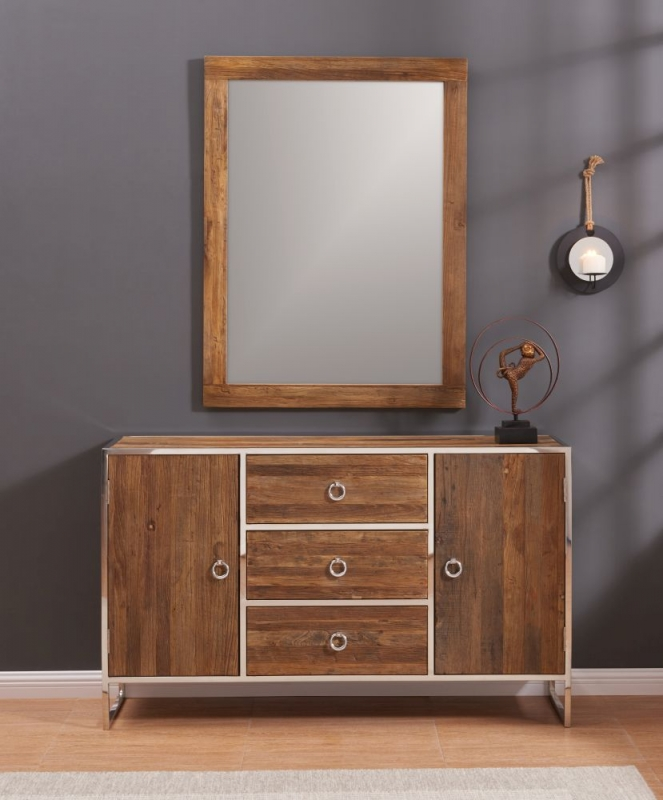 Dothan Rustic Walnut and Chrome Sideboard with Mirror