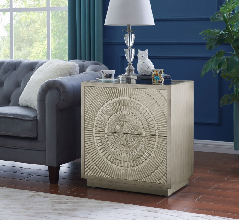 Filton Silver Embossed Side Table with Mirrored Top