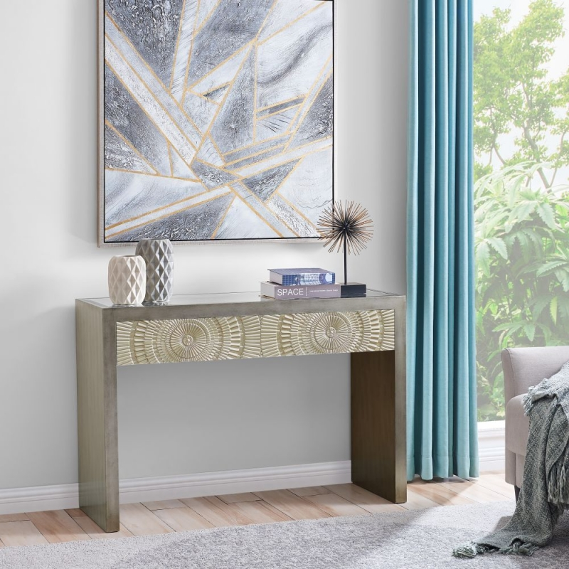 Filton Silver Embossed Console Table with Mirrored Top