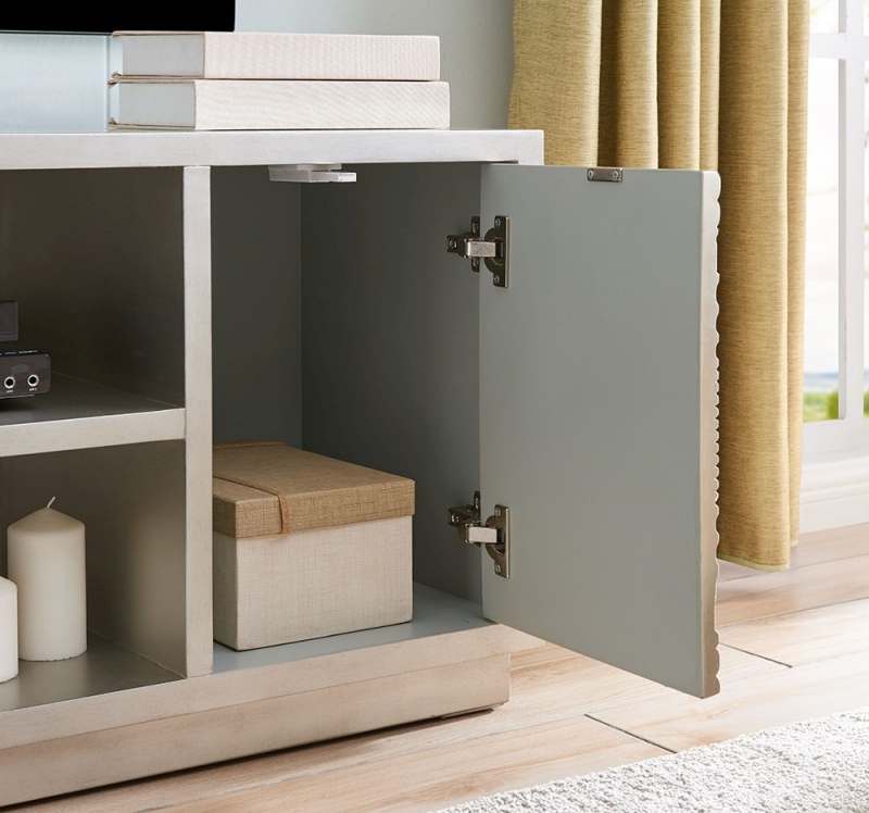Filton Silver Embossed TV Unit with Mirrored Top