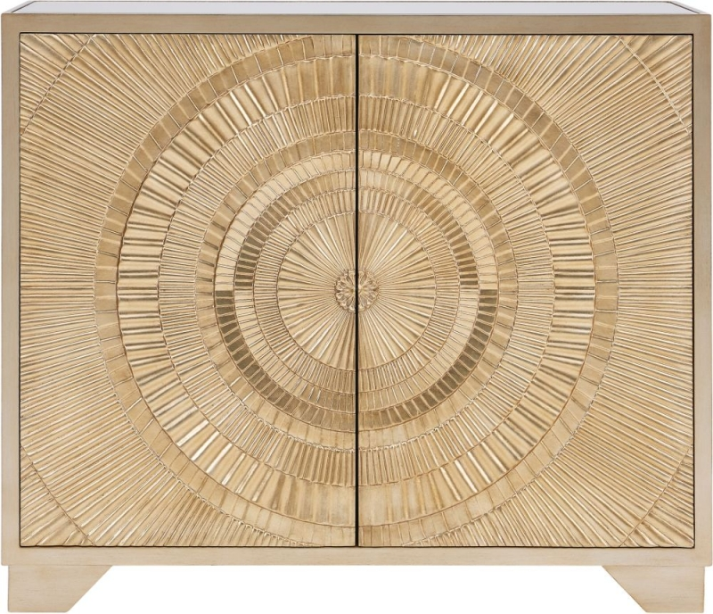 Filton Gold Embossed 2 Door Small Sideboard with Mirrored Top
