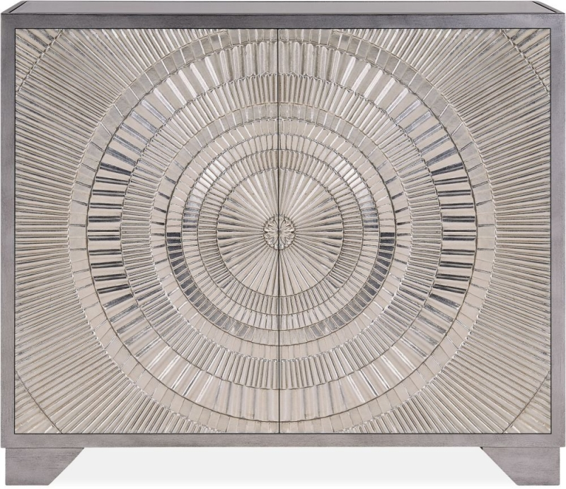 Filton Silver Embossed 2 Door Small Sideboard with Mirrored Top
