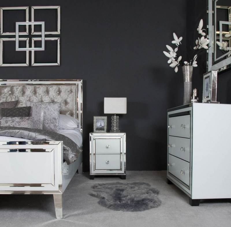 White Montague Mirrored 2 Drawer Bedside Cabinet
