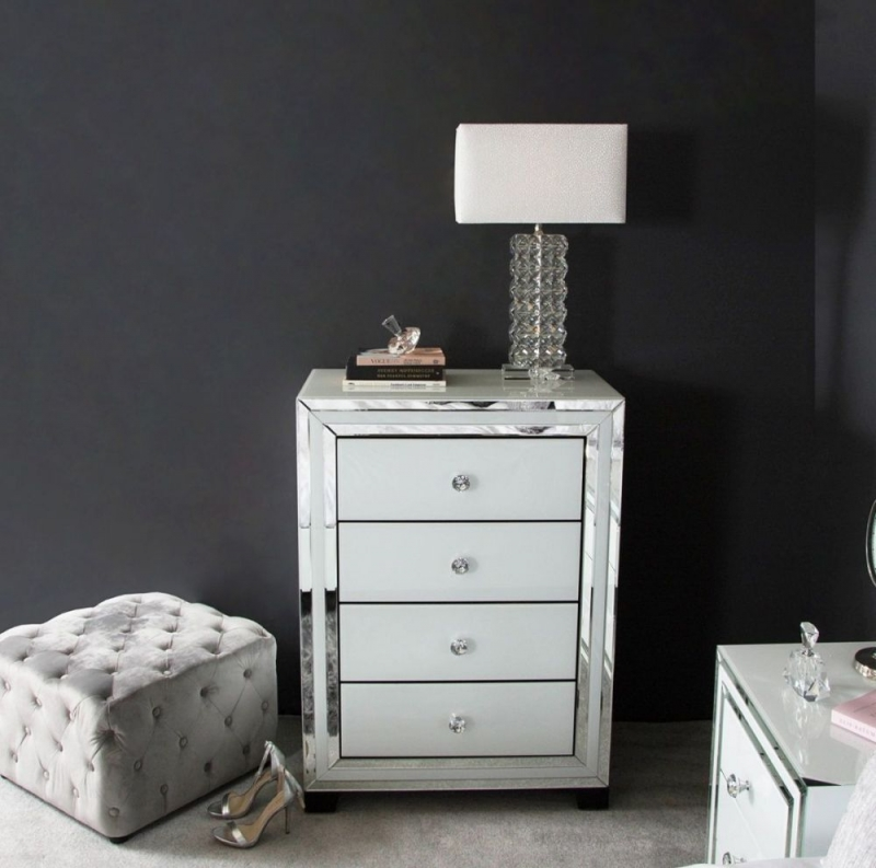 White Montague Mirrored 4 Drawer Bedside Cabinet