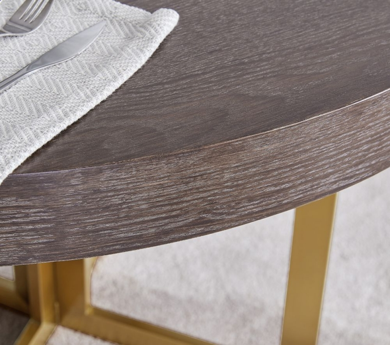 Shildon Walnut and Gold Round Dining Table