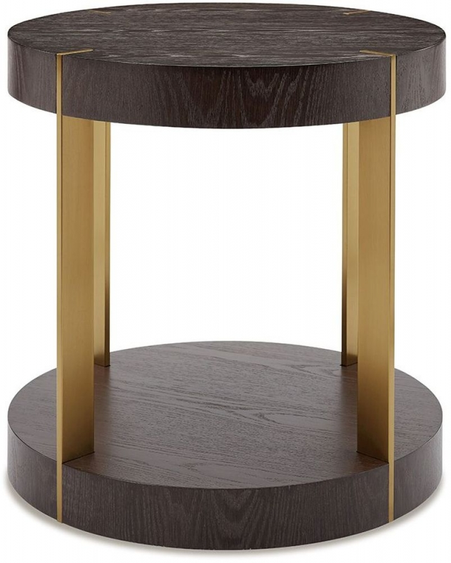 Shildon Walnut and Gold Round Lamp Table