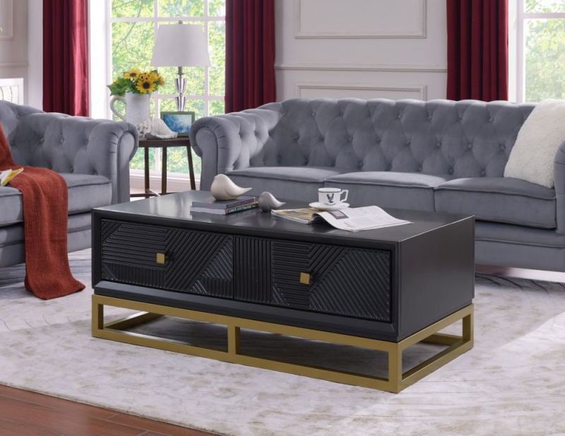 Oundle Black Geometric Design Coffee Table