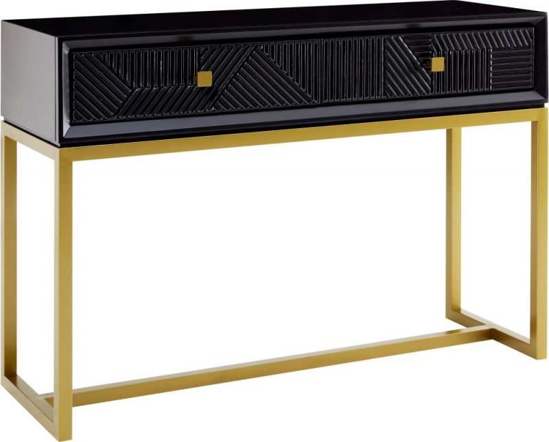 Oundle Black Geometric Design Console Table with Mirror