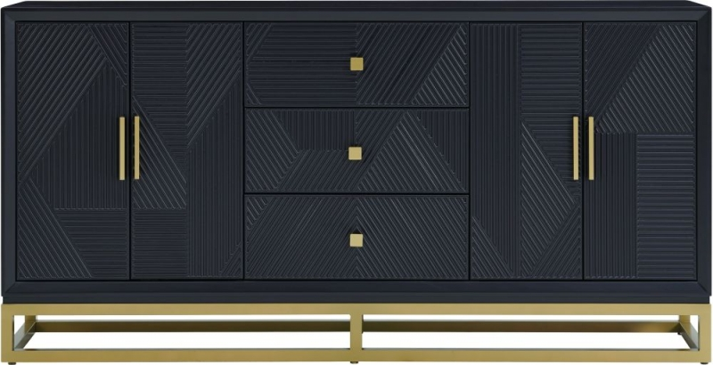 Oundle Black Geometric Design 4 Door 3 Drawer Sideboard