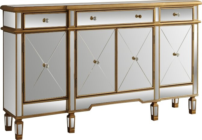 Leiston Mirrored with Gold Trim Sideboard with Mirror