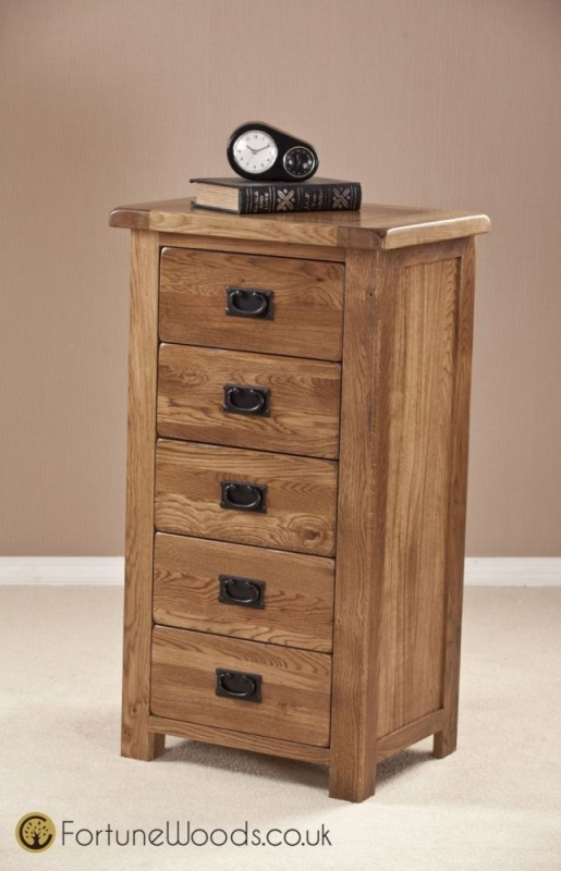 Rustic Oak Chest of Drawer - 5 Drawer Wellington