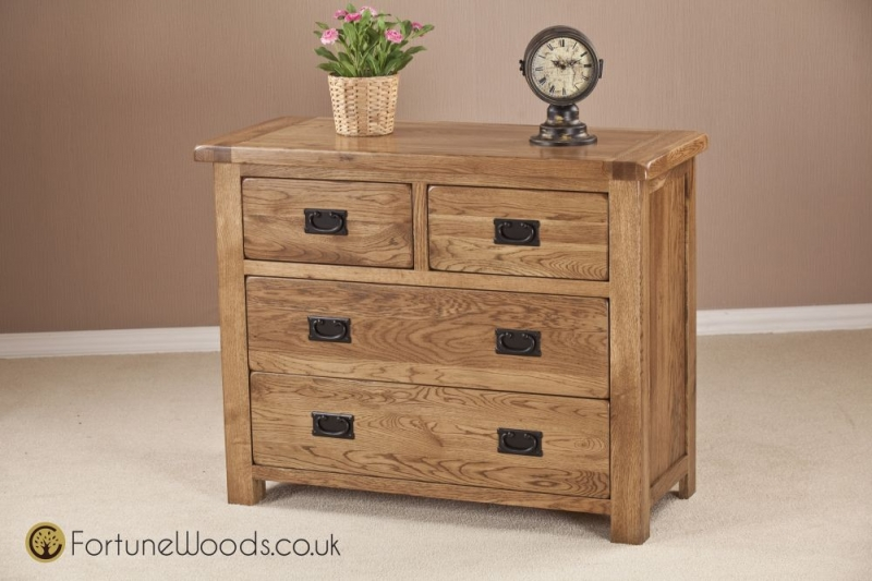 Rustic Oak Chest of Drawer - 2+2 Drawer