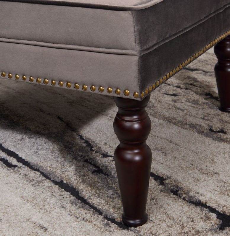 Doncaster Grey Velvet Fabric Footstool