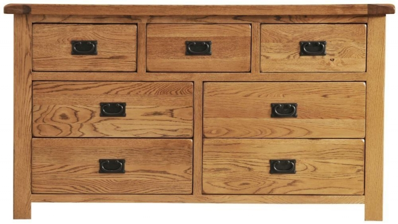 Rustic Oak Chest of Drawer - 3 Over 4 Drawer
