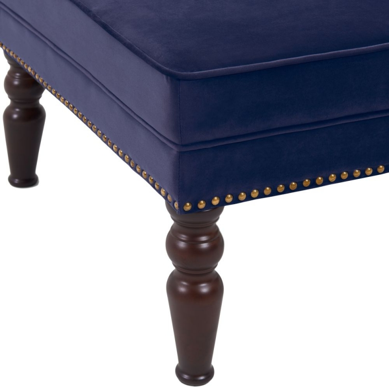 Doncaster Blue Velvet Fabric Footstool