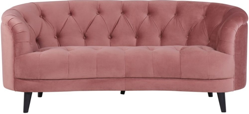 Silloth Pink Velvet Fabric Love Seat Sofa