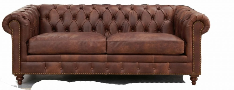 Hampton Chesterfield Brown Leather 2 Seater Sofa