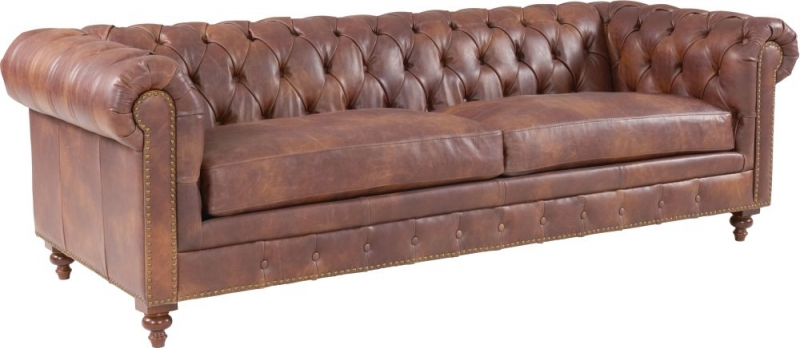 Hampton Chesterfield Brown Leather 2.5 Seater Sofa
