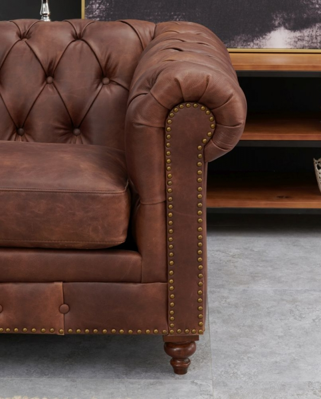 Hampton Chesterfield Brown Leather 3 Seater Sofa