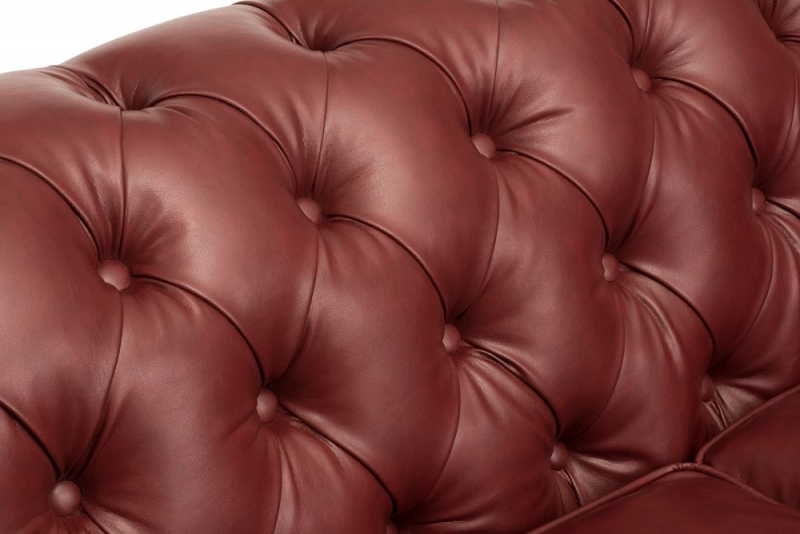 Hampton Chesterfield Red Faux Leather 2 Seater Sofa