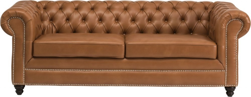 Hampton Chesterfield Tan Faux Leather 3+2 Seater Sofa Suite