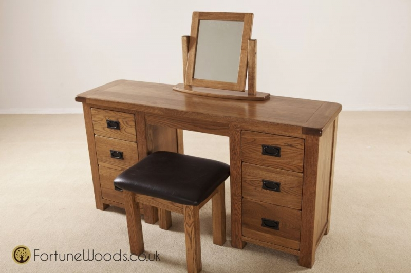 Rustic Oak Dressing Table - Double Pedestal