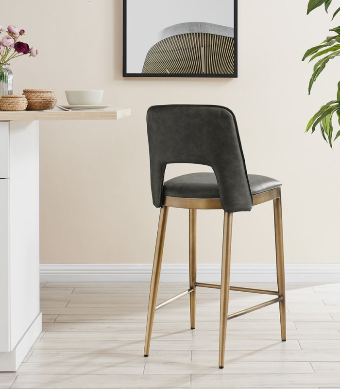 Malton Brass and Vintage Grey Faux Leather Barstool