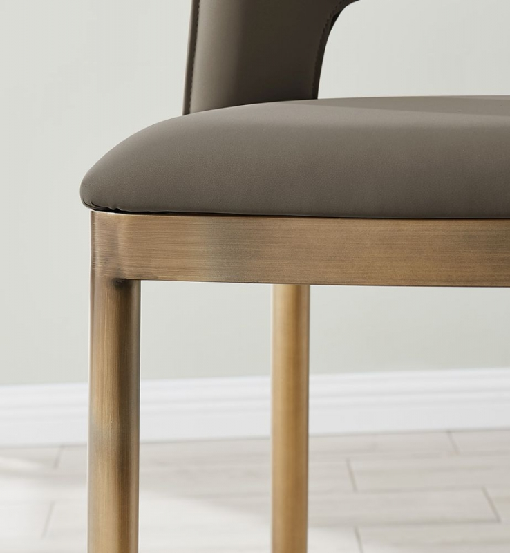 Malton Brass and Vintage Taupe Faux Leather Barstool