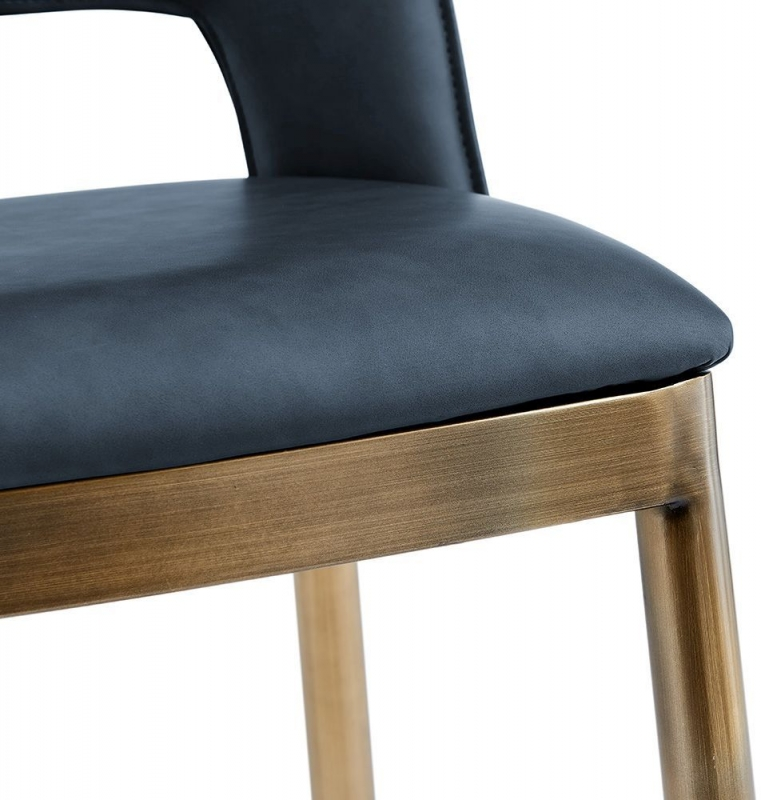 Malton Brass and Night Blue Faux Leather Barstool